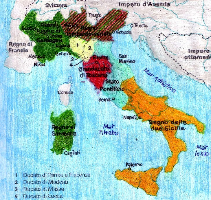 Cartina Dell Italia 1815.L Italia Dopo Il Congresso Di Vienna
