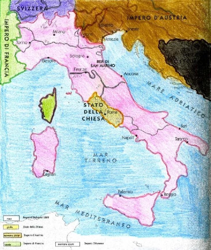 Cartina Italia 1860.L Italia Nel 1860